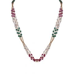 Elegant Multiline With Multi Synthetic Colour Stone Gold Chain-3-A4189
