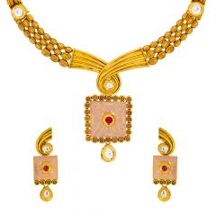 Ravishing Kundan Enamel Dangler Gold Necklace Set