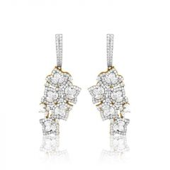 Marquise Cut With Round Brilliant Diamond Earrings - 341467