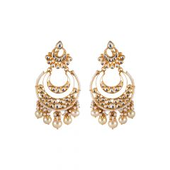 Glossy Finish Drop Pearl With Kundan Studded Chandbali Earring - 3AT1062