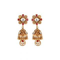 Matte Oxydise FinishDrop Gold Ball With Kundan Jhumki Earring - 3AT964