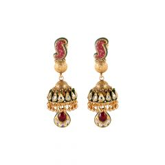 Multicolour Stone Drop Kundan Jhumki Gold Earring  - 3AT967