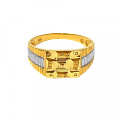 Traditional Embossed Two Tone Gold Ring For Him-GR4033