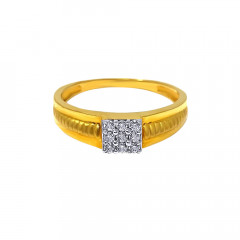 Elite  Cluster Daily Wear Synthetic Diamond Gold Ring For Him-GR4956