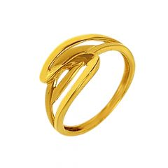 Elegant Curved Gold Ring-LR5075