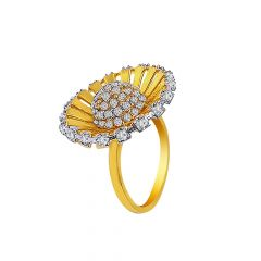 Dazzling Floral Diamond Gold Ring-LR7615