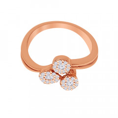 Glittering Cluster Diamond Rose Gold Ring-LR7904