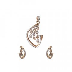 Stylish  Rose Gold Synthetic Diamond Set-PS7696