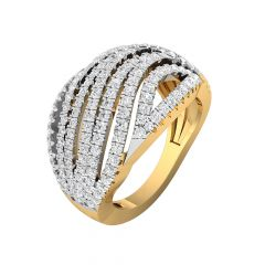 Sparkling Dome Layered 14kt Diamond Gold Ring