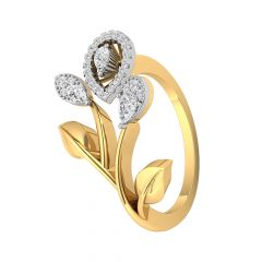 Nature Inspired Drop Leaf 14kt Diamond Gold Ring