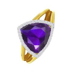 Sparkling Trident Natural Amethyst 18kt Yellow Diamond Ring