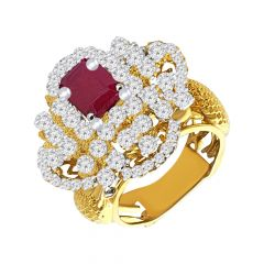 Ravishing Textured Cocktail Natural Ruby 14kt Yellow Gold Daimond Ring -2693K1