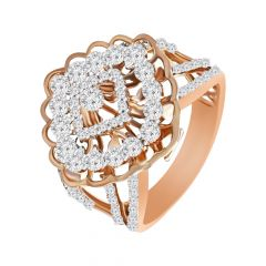 Trendy Cluster Cocktail 18kt Rose Gold Diamond Ring -3828K1