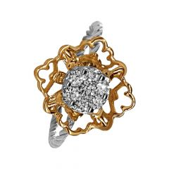 Glittering Cluster 18kt Two Tone Gold Diamond Ring