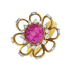 Blooming Floral Natural Ruby 18k Yellow Gold Diamond Ring -627K1