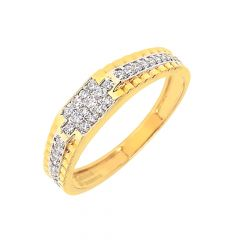 Sparkling Cluster Diamond Yellow Gold 18kt Ring-DJGR78