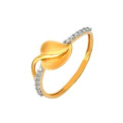 Delicate Leaf Daily Wear 22kt Yellow Gold CZ Ring -60056008