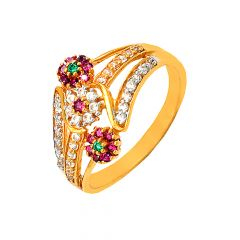 Traditional Cluster Gemstone CZ Daily Wear 22kt Yellow Gold Ring -60313026