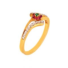 Traditional Floral Gemstone Daily Wear 22kt Yellow Gold CZ Ring -60313032