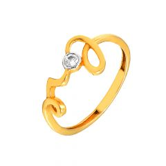 Elite Single Stone Love Daily Wear 22kt Yellow Gold CZ Ring -60340003