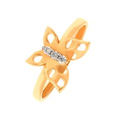 Fluttering Butterfly Daily Wear 18kt Rose Gold CZ Ring -60448006