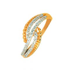Classy Crisscross Contemporary Daily Wear 22kt Yellow Gold CZ Ring -60480007