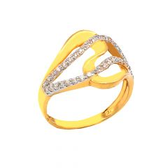 Delight Curve CZ Cluster Daily Wear 22kt Yellow Gold Ring -60481003