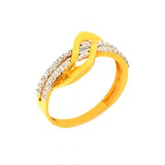 Delicate Wavy Cluster Daily Wear 22kt Yellow Gold CZ Ring -60481006
