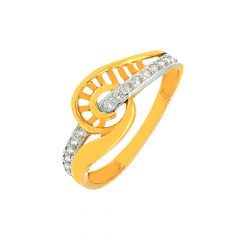 Elegant Wavy Cutout Traditional Daily Wear 22kt Yellow Gold CZ Ring -60481010