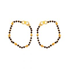 Traditional Textured Synthetic Black Bead 18kt Yellow Gold Bracelet (Set Of Two) -SJBABYBRS