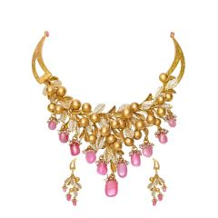 Unique Kundan Gold Necklace Set-se1248