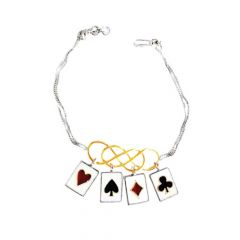 Trendy Enamel Playing Cards Party Wear Silver 925 Bracelet -337-KJBR-3