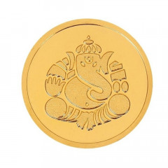 8 Gms 999 Purity Lord Ganesha Gold Coin-KJKC2-8-G
