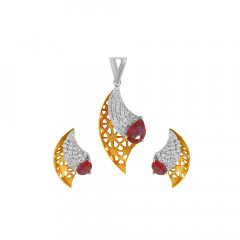 Delicate Party Wear Two Tone Diamond Gold Pendant Set-PS-276
