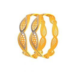 Graceful Cutout 22KT Gold Bangles ( Set of 2)-FOB002