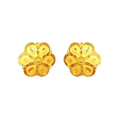 Blossom Textured Floral Stud 22kt Yellow Gold Earring -USHA002