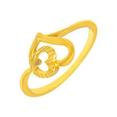 Delicate Textured Heart Daily Wear 22kt Yellow Gold Ring -shp02