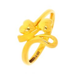 Elite Twisted Dual Heart Gold Ring