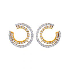 Trendy Circular CZ Front Back Gold Earrings