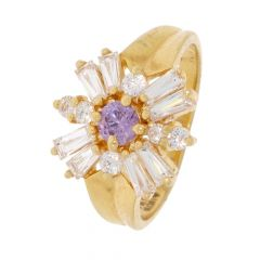 Glossy Finish Floral Design Studded With CZ Synthetic Stone 18kt Gold Ring For Women-453-A1045