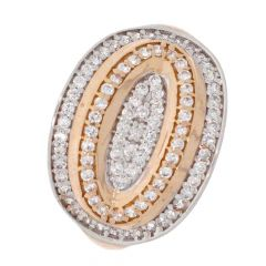 Collegiate Design Studded With CZ Gold Ring For Women-453-A1086