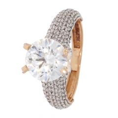 Dregeli Design Studded With CZ Gold Ring -453-A1404