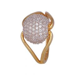 Glossy Finish CZ Studded Gold Ring-453-A997