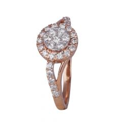 Glittering Pressure Set Curved Cluster Diamond Ring-454-A1890