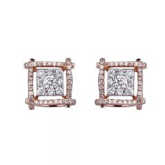 Sparkling Diamond Connected Square Design Stud Earring-455-A1515