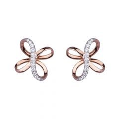 Glossy Rose Gold Glittering  Diamond Floral Stud Earring-455-A1672