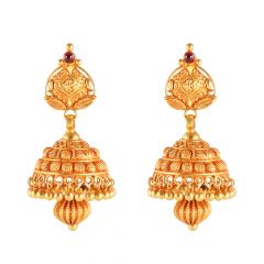 Antique Temple Collection Jhumki Gold Earrings - 46-A526