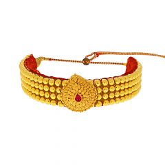 Ceremonial Textured Gemstone Gold Thushi Necklace