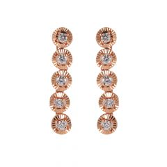 Glossy Rose Gold Diamond Cut Single Line Diamond Earring - 49ADS51