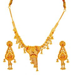 Glossy Finish Drop Layer Chain Meenakari Gold Necklace Sets - 4SE374